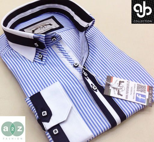 Brand New Men's Formal, Smart, White, With Blue Striped Double Collar Casual Italian Design Slim Fit Shirt, with Contrast Navy Blue NEW DESIGN - S - 4XL