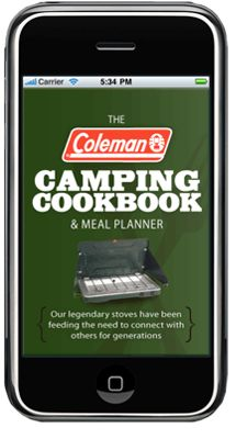 Help for planning camping menus: The Coleman Cookout Cookbook & Meal Planner application allows users to find the perfect meal based on food type, category, and ingredients.