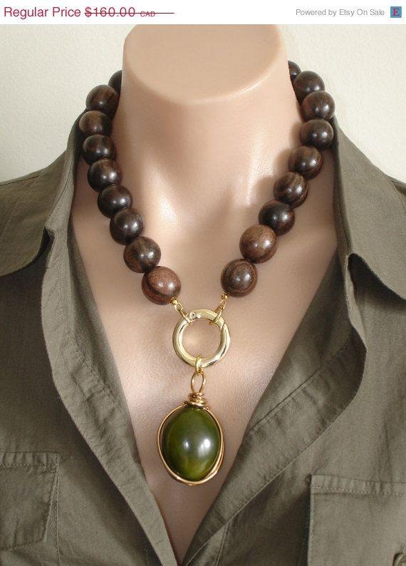 VALENTINE SALE ASHIRA Ebony Wood Necklace with by AshiraJewelry, $64.00