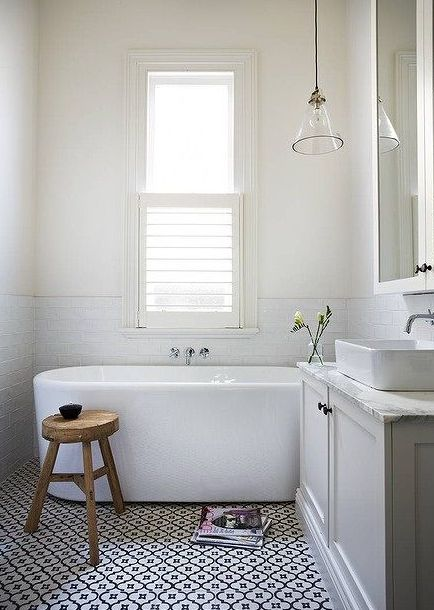 this is a weird mix of things - but i'm drawn to the tile floor (simple but eye catching) and the modern tub with modern but old world fixtures & the old rustic pendant - hmmm could be great look (tile) for the boys bath with black chalk board paint on 1 wall and black/white - chrome cabinetry and other items / shower subway tile etc...: