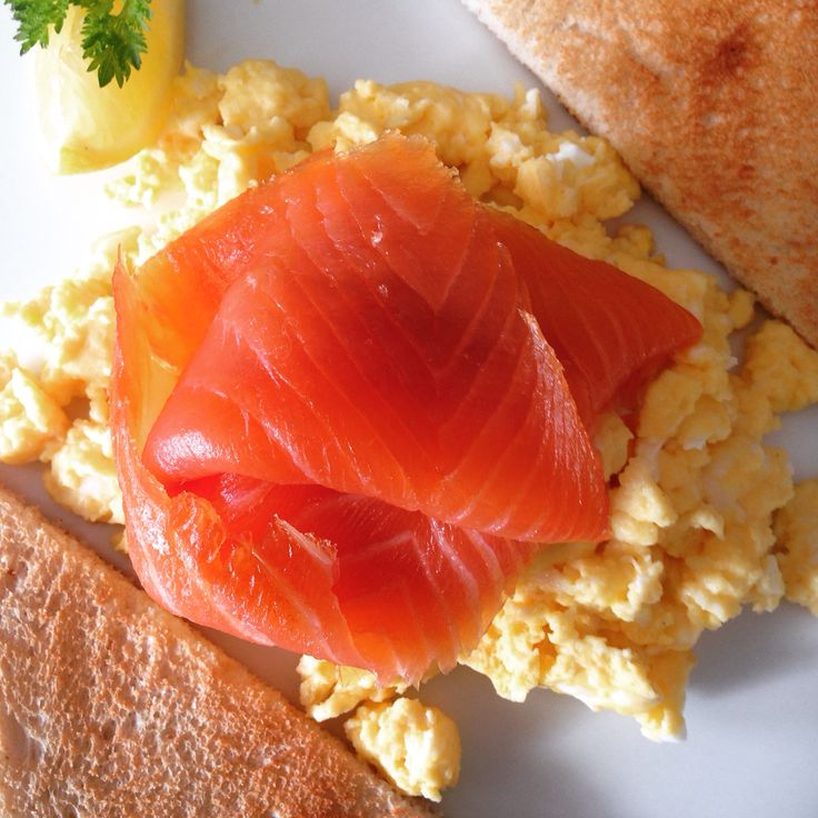 Scrambled Free range Eggs from our own Hens topped with Burren Smoked Salmon
