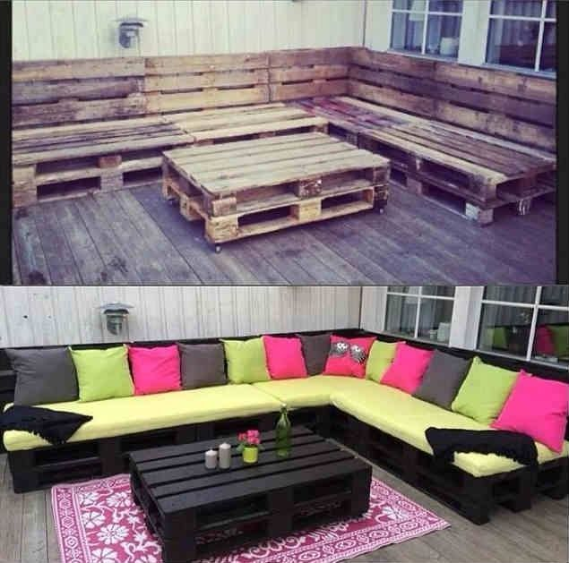 Like the raw pallets on the top, maybe with some nice fabric cushions. furniture