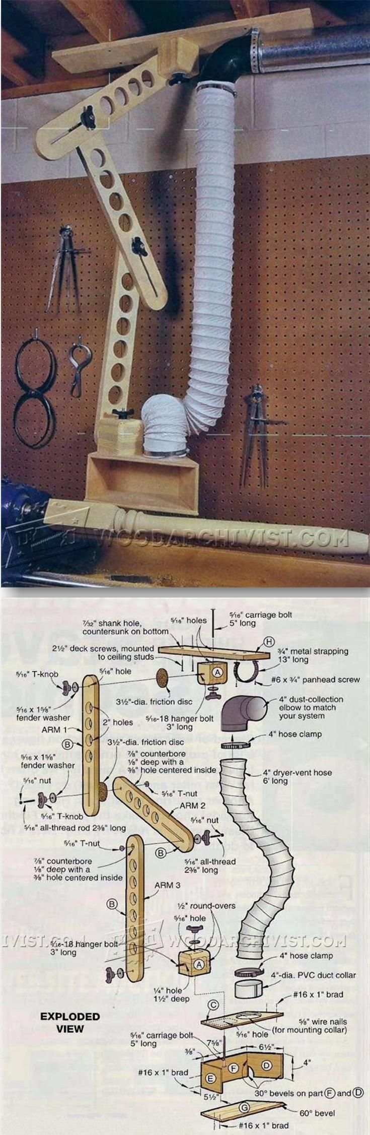 Lathe Dust Collection Boom Arm - Dust Collection Tips, Jigs and Fixtures | http://WoodArchivist.com