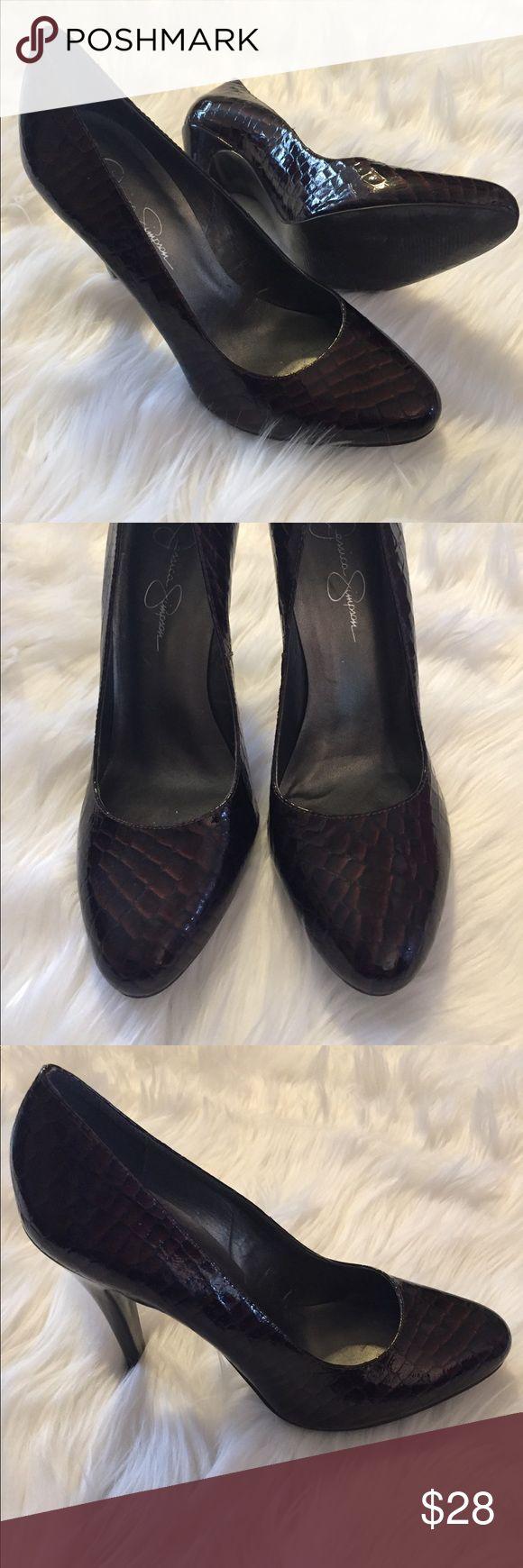 JESSICA SIMPSON brown pumps Brown pumps. 5 in heel height. Great condition! Embossed crocodile print. Jessica Simpson Shoes Heels