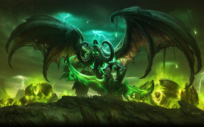 Download wallpapers Illidan, 4k, battle, World of Warcraft, warriors, monsters, WoW