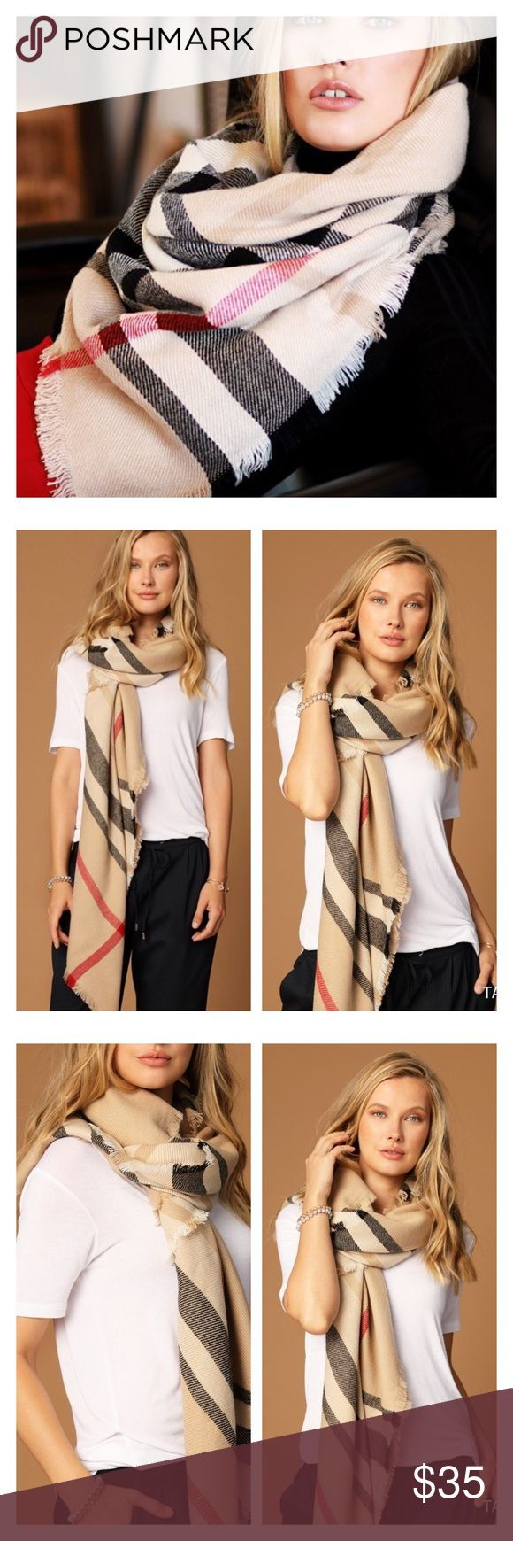 """New Arrival- Vail Classic Blanket Scarf Super soft and comfortable classic plaid tartan scarf. Blanket scarf. Look chic with this baby on. Timeless. 100% soft and smooth Acrylic. 49""""X49"""". Brand new. Price is firm unless bundled. Thank you! Accessories Scarves & Wraps"""