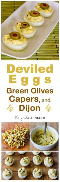 Deviled Eggs are the perfect low-carb party food any time of year, and these Deviled eggs with Green Olives, Capers, and Dijon are loaded with interesting flavors! [found on KalynsKitchen.com]