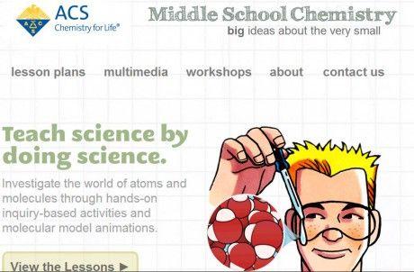 Middle-School-Chemistry   планы всех уроков по всем классам (USA). 3D-модели.  при нагревании и охлаждении твердых, жидких и газообразных веществ.  почему одно вещество более или менее плотное, чем другое.  при растворении определенных веществ в воде.  ресурсы можно просмотреть не только онлайн, но и загрузить на свой компьютер.