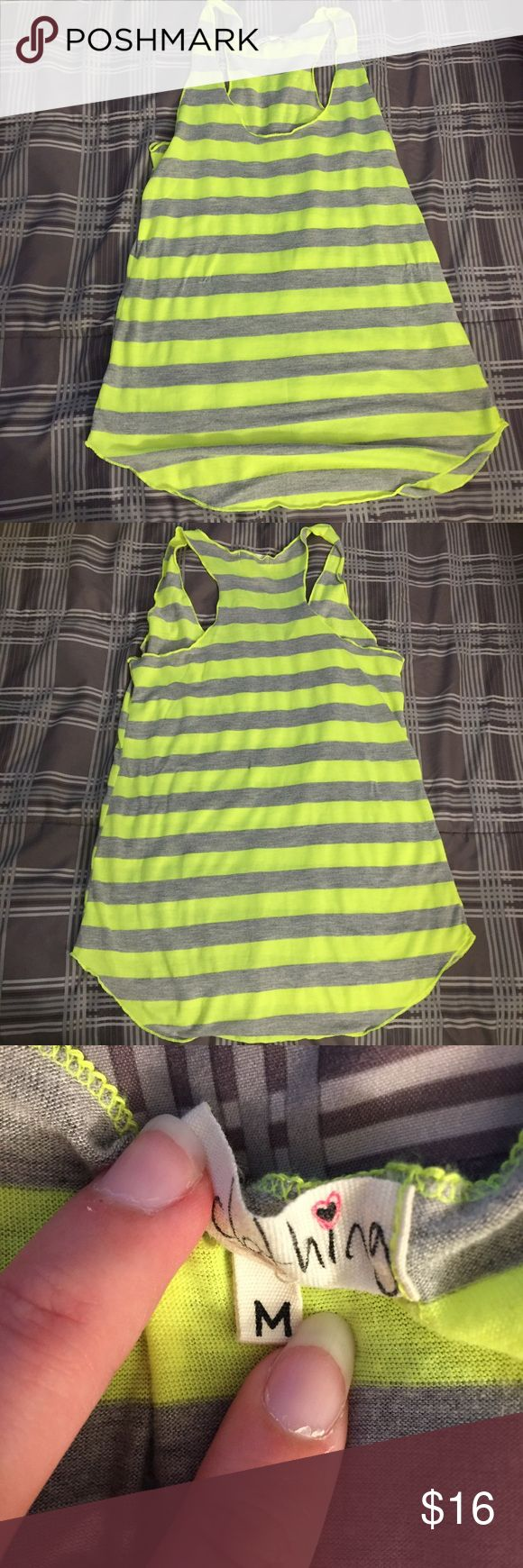 Neon yellow and gray tank Bright neon yellow and gray striped tank top. Super soft and comfy one clothing Tops Tank Tops