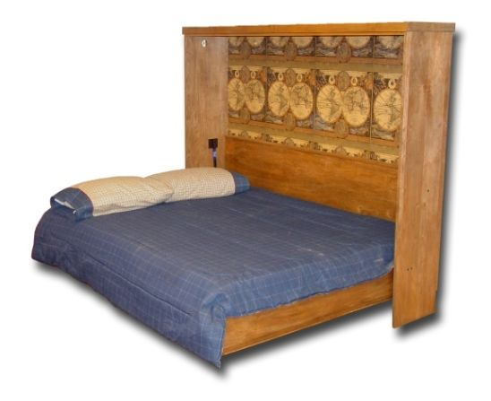 rustic murphy bed | Oak Queen Tuscany Murphy Wall Bed Open
