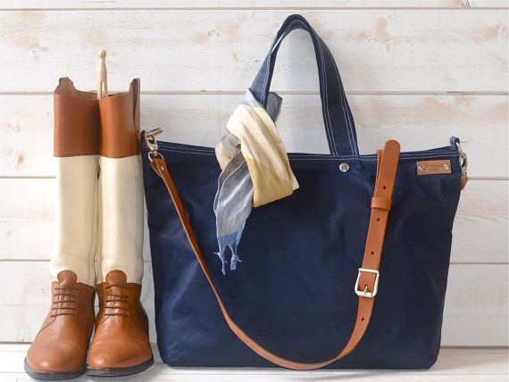 Large waxed canvas tote, waxed canvas diaper bag, waterproof canvas diaper…