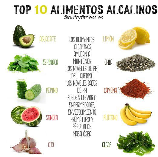 top 10 alimentos alcalinos.                                                                                                                                                                                 Más
