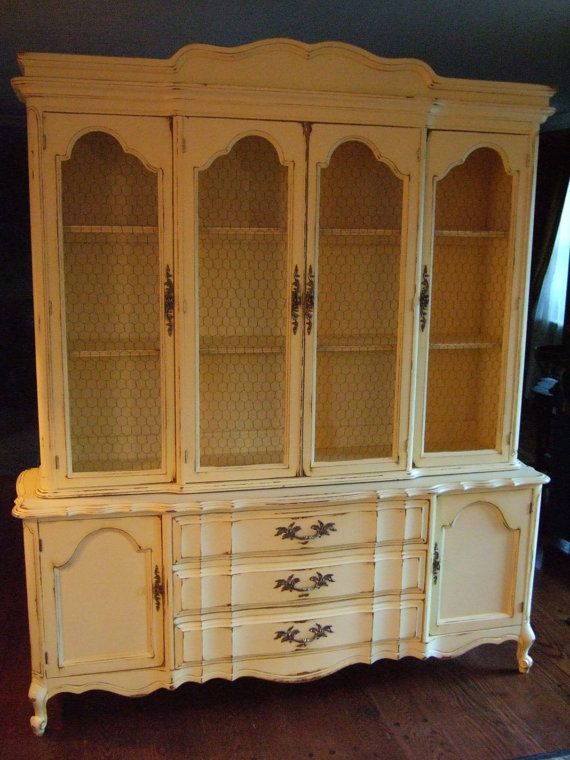 Large French Country Hutch In A Distressed Yellow Dining RoomDining