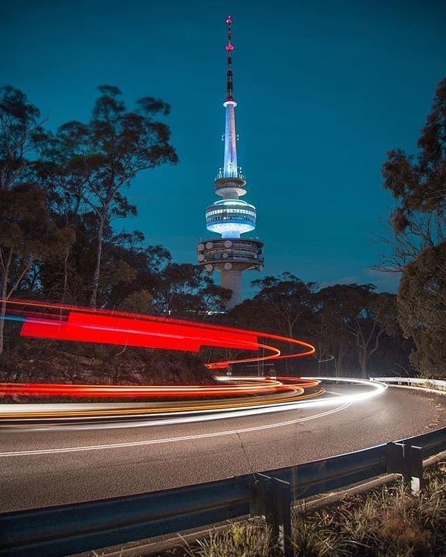 """The curve; Canberra, didn't know you were that cool!"" Instagrammer @svendsania snapped this epic image of Telstra Tower at night. As well as being a popular subject for photographers, Telstra Tower offers spectacular 360 degree night and day views of Canberra's region. #visitcanberra #onegoodthingafteranother"