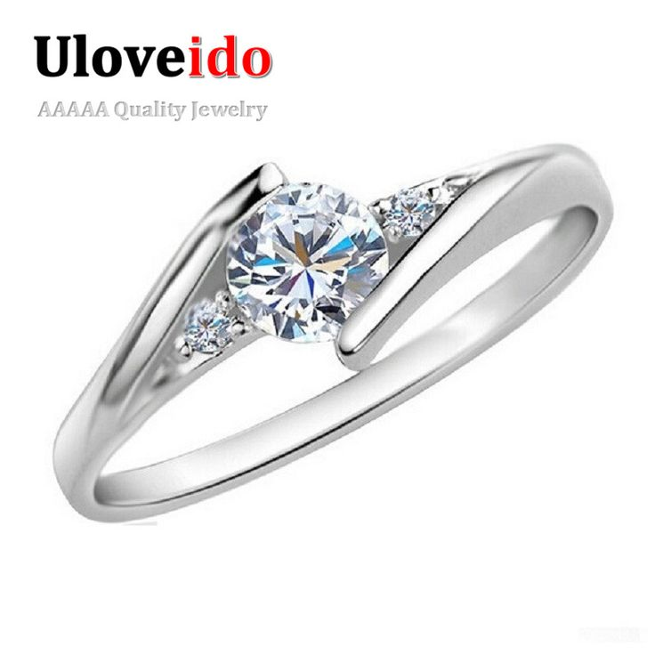 White Gold Plated Wedding Jewelry Rings For Women Crystal Engagement Silver Zircon