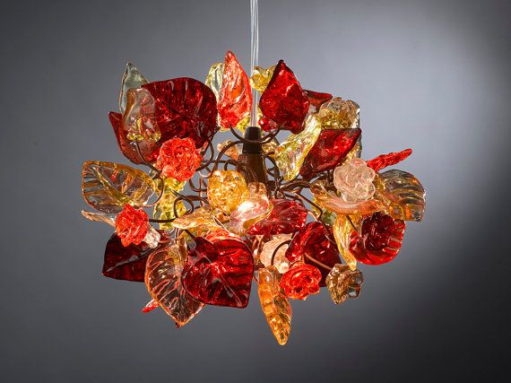 Ceiling light fixture Red shades of flowers and by Flowersinlight, $139.00