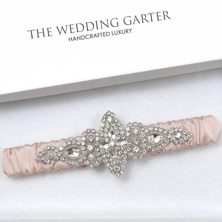 Diana Blush Pink Bridal Garter With Rhinestone Applique
