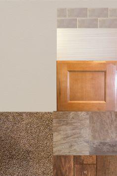 LIGHT GOLDEN CABINETS WITH WARM GRAY ACCENTS AT A GREAT PRICE POINT. Cabintes: Ralston, Hazelnut.   Countertops: Prem Laminate Vapor Strandz.   Backsplash: 3x6 glass, fog.    Laminate: Rustic Oak, Charcoal.    Vinyl: Cambridge  Carpet: Turnberry Pueblo.   Wall Color: Agreeable Gray