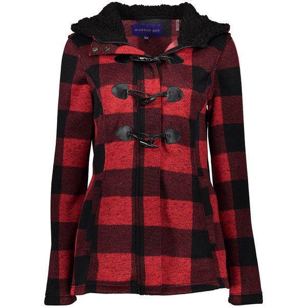 Madden Girl Red & Black Plaid Hooded Pea Coat ($30) ❤ liked on Polyvore featuring plus size women's fashion, plus size clothing, plus size outerwear, plus size coats, plus size, long red coat, plaid coat, hooded peacoat, long coat and toggle coats
