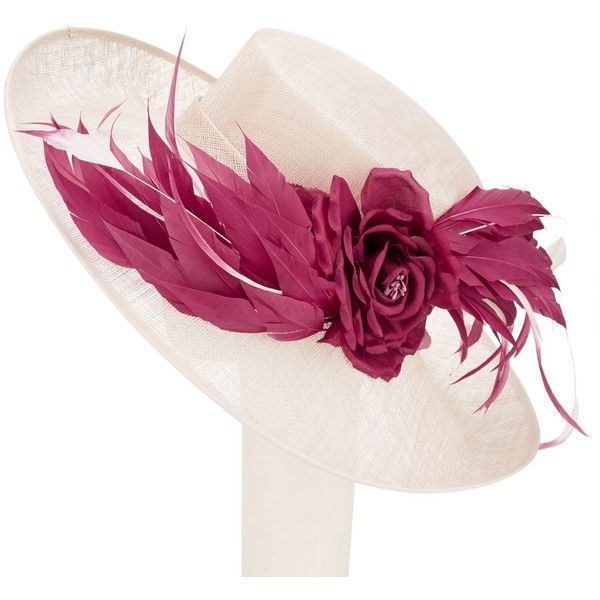 John Lewis Kelly Side Upturn Flower Occasion Hat (€155) ❤ liked on Polyvore featuring accessories, hats, wide brim hat, feather hat, brimmed hat, john lewis and flower hat