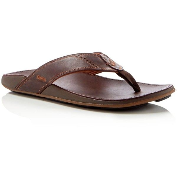 Olukai Nui Flip Flops ($80) ❤ liked on Polyvore featuring men's fashion, men's shoes, men's sandals, men's flip flops, dark java brown, mens brown shoes, mens brown flip flops, olukai mens sandals, olukai mens flip flops and mens brown leather sandals