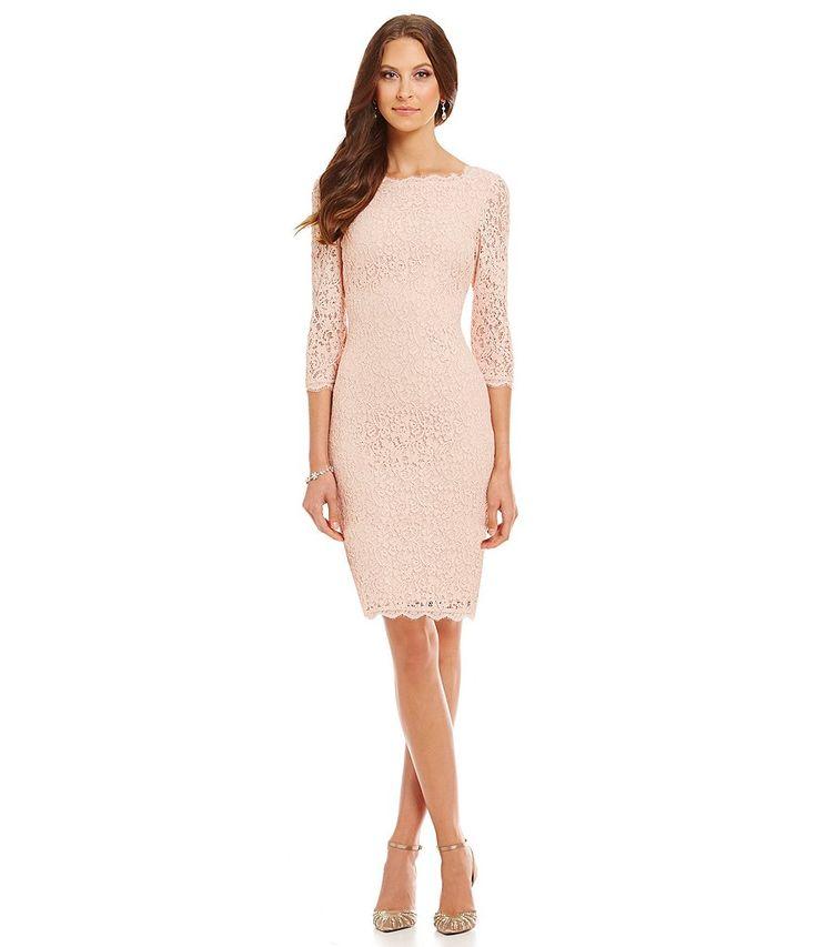 Bridal Blush:Adrianna Papell Petite Scalloped Lace Sheath Dress