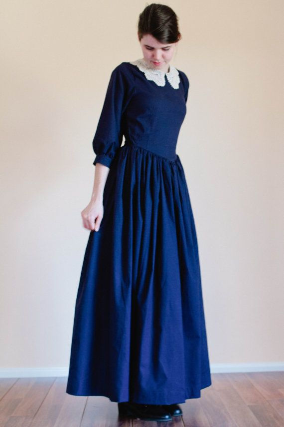 Pointed bodice plain dress.   These simple, streamlined dresses offer modest coverage with soft, feminine style with an added crochet collar.