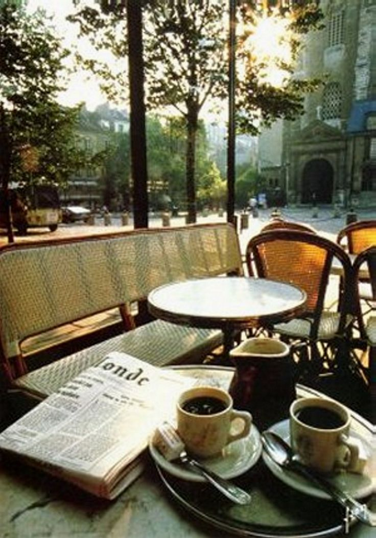 love the idea of coffee outside with a news paper! but i hate the news so pass me an old fashioned book please:)