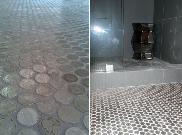 Bathroom Floor Idea Flooring Pinterest Coins