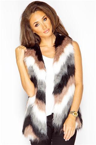 Megan McKenna Mocha Aztec Faux Fur Gilet