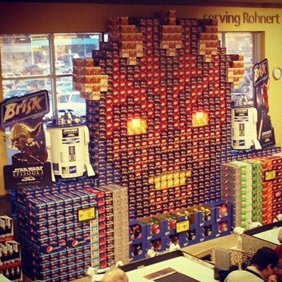 these are pretty impressive...Mist Maul, Boxes Display, Sodas Display, Display Art, Dark Side, Stars Wars, Sodas Boxes, Grocery Stores, Stores Display