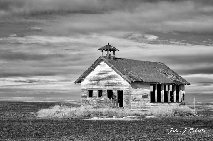 """Highland Schoolhouse   47°35'54"""" N 119°31'59"""" W   """"The old Highland Schoolhouse located in Douglas County Washington. Accounts date this one room schoolhouse to 1905. The last classes were held here in 1949. The school was not part of any one township, but rather served several surrounding communities. The schoolhouse was used for various community activities such as a voting precinct up until the 1960's."""""""
