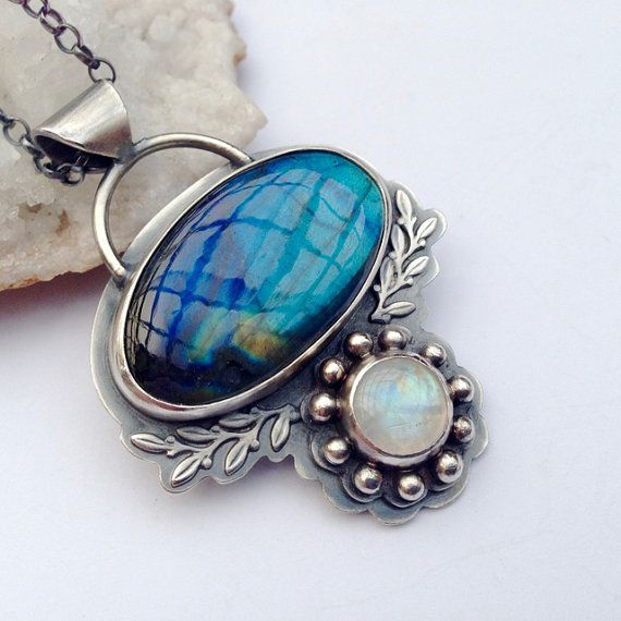 Ashima- Silver Labradorite and Moonstone Necklace Handmade in a Bohemian Style with Oxidized Finish, Boho Metalwork Necklace, Gift for Her