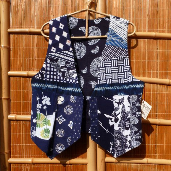 Vintage Yukata Kimono Patchwork Vest- Reversible. Great with Jeans and a T-Shirt! https://www.etsy.com/listing/117178646/patchwork-kimono-vest-reversible