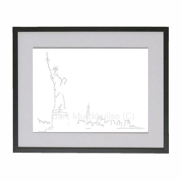 Minimalistische tekening van het Vrijheidsbeeld - New York door LeidseLijnen op Etsy