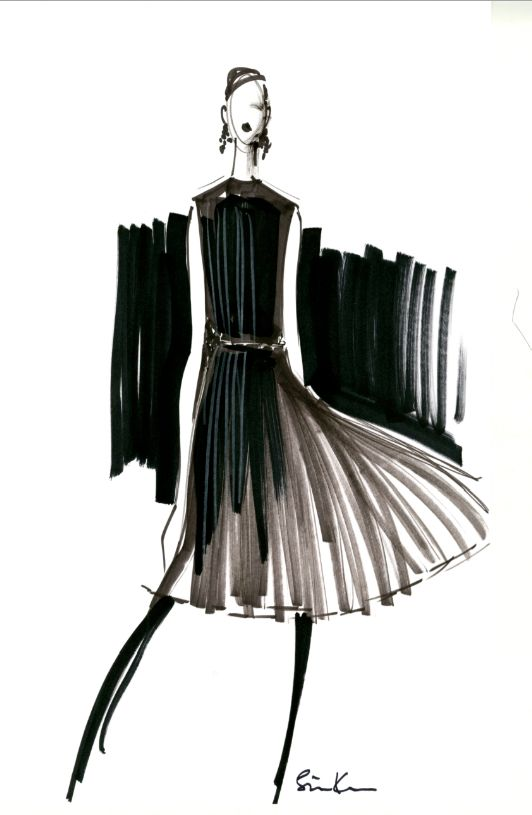 Monochrome Fashion Sketch - stylish simplicity; fashion illustration