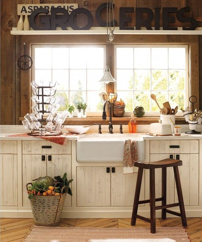 Country Farm Kitchen: Farm Sink, Remove Upper Cabinets, Chalk Paint, Antiqued