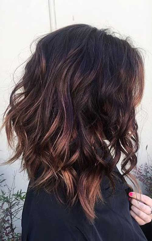 layered brunette lob hair ideas for women