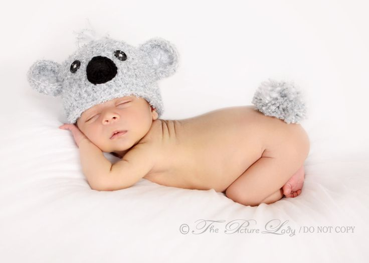 Baby Koala Bear Hat and Fluffy Tail, Crochet Koala Bear Hat, Newborn Koala Bear Hat Set, Baby (0-3 months) Photo Prop. $26.00, via Etsy.