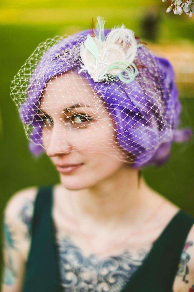 purple bridal hair - birdcage veil - tattoo bride - non-traditional dress and hair - rock 'n' roll wedding - southern bride - distillery wedding