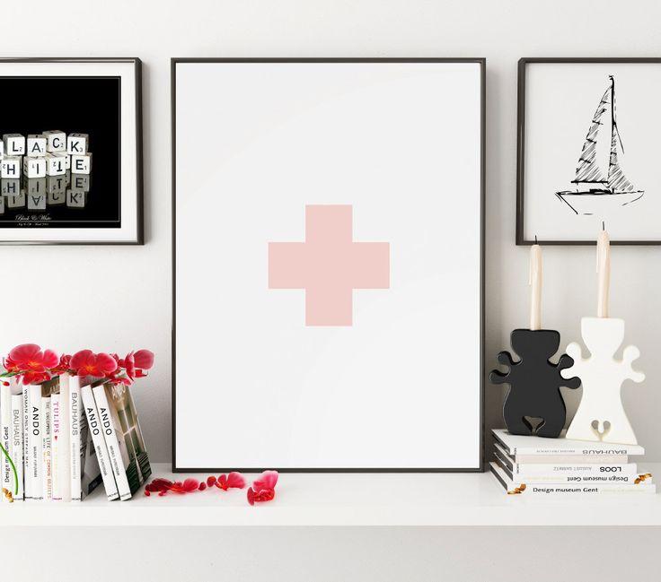 Swiss Cross Wall Art, Geometric Art, Nursery Wall Art, Swiss Cross Print, Plus Sign Wall Prints, Printable Art