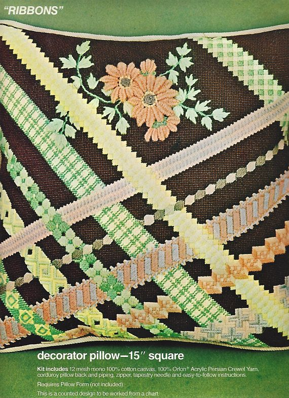 1970s Ribbons Bucilla Needlepoint Pillow Kit 4831 15 Inch