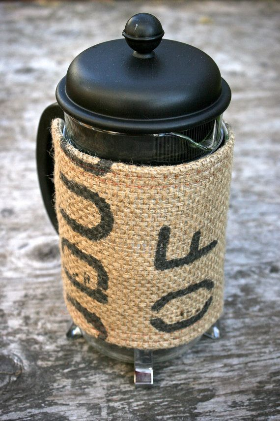 burlap insulated cover made out of recycled coffee bags for a french press