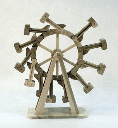 "Perpetual Motion Machine: This is a hardwood model kit for an overbalanced wheel, likely the oldest perpetual motion machine in history. Finished model stands 22"" tall."