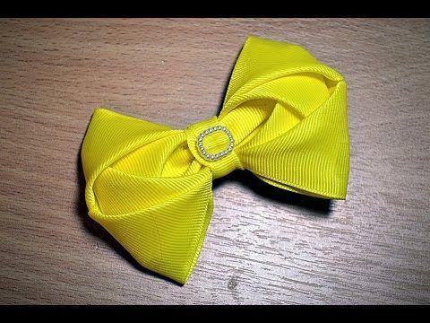 Small 3D bows of Kanzashi. Bows made of ribbons with their own hands. DIY Kanzashi. - YouTube