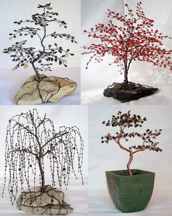 Majestic Weeping Willow Wire Tree Beaded Bonsai Sculpture - CUSTOM made to order Trees, Wire ...