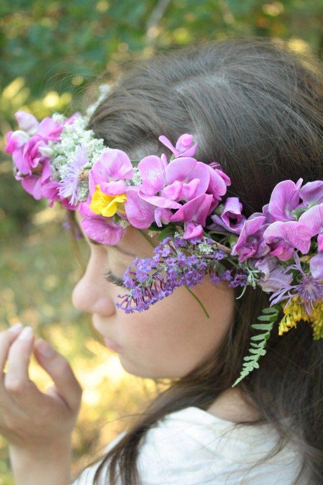 floral crown, sweet peas