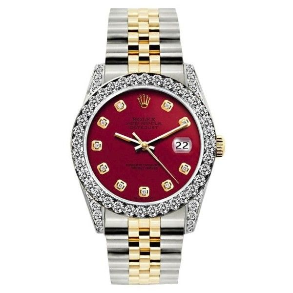 Pre-owned Rolex Datejust 18K Yellow Gold / Stainless Steel Diamond... ($4,799) ❤ liked on Polyvore featuring jewelry, watches, 18k gold watches, gold diamond watches, stainless steel watches, diamond dial watches and gold jewelry