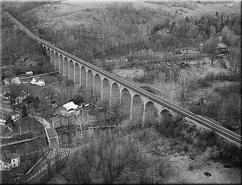 The Starrucca Viaduct This birds-eye view of the viaduct was taken during April of 1971 still showing the line's double-track status. Even today it's still a grand sight to visit!