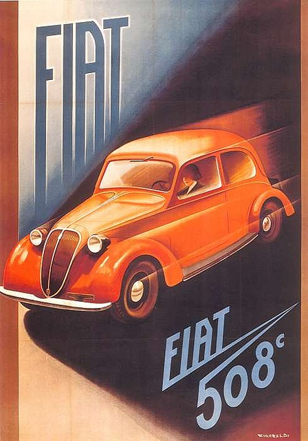 Vintage Italian Posters ~ #Italian #vintage #posters ~ Old #Fiat poster #advertising #italiandesign